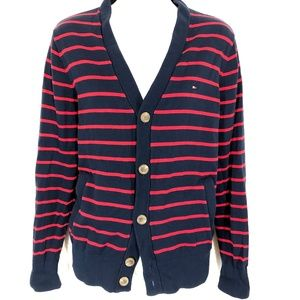 TOMMY HILFIGER Navy Red Striped Cardigan Sweater S